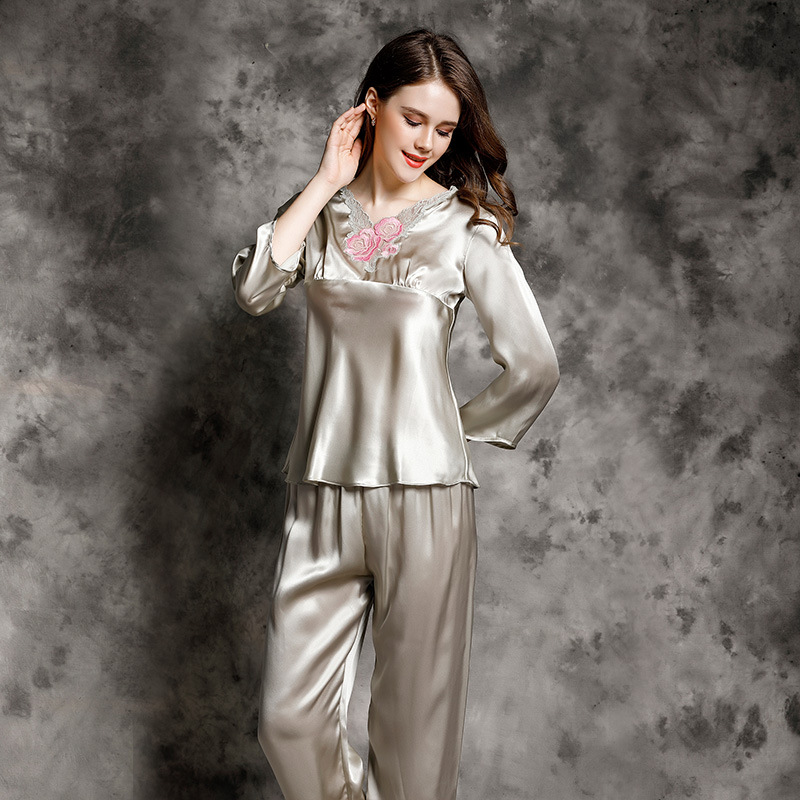 T77155 New Fashion two piece suite, Home Wear spring and summer Clothes Set ladies 100% Silk Pajamas Set