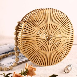 2018 NEW Round Beach Bamboo Bag Fashion Shoulder Bag Women Hollow Out Crossbody Shopping Straw Bag Travel Bag Two Colors