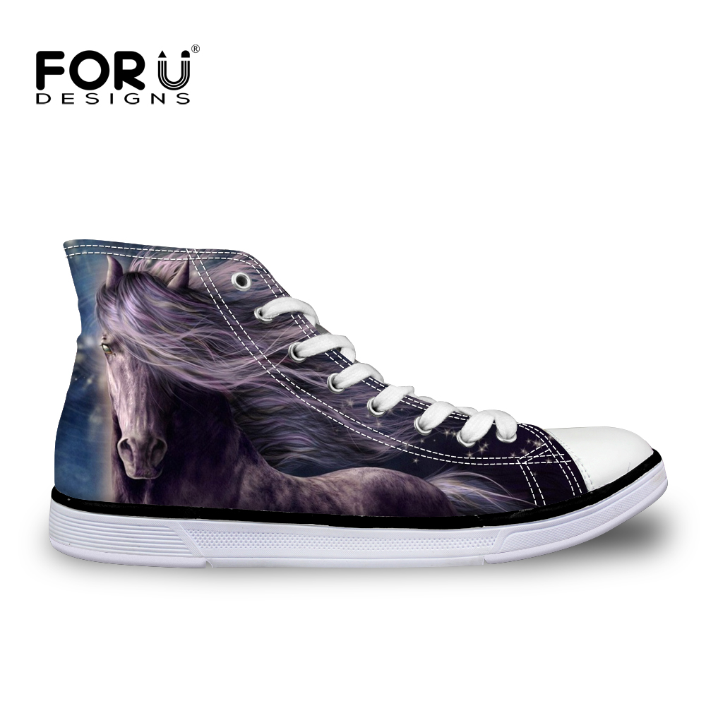 FORUDESIGNS 2018 Crazy Horse Printed Women Vulcanize Shoes Classic High Top Canvas Leisure Shoes for Women Zapatos Black Friday