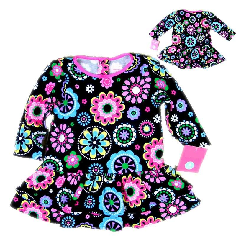 Winter Girls Dress flowers Long Sleeve Baby Girls Dresses Kids Dresses For Girl Warm Princess Dress Little Girls Fashion Clothes