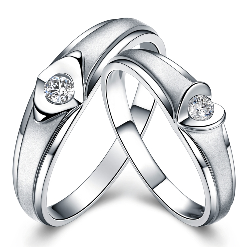 GVBORI women ring men ring couples ring Natural diamond heart