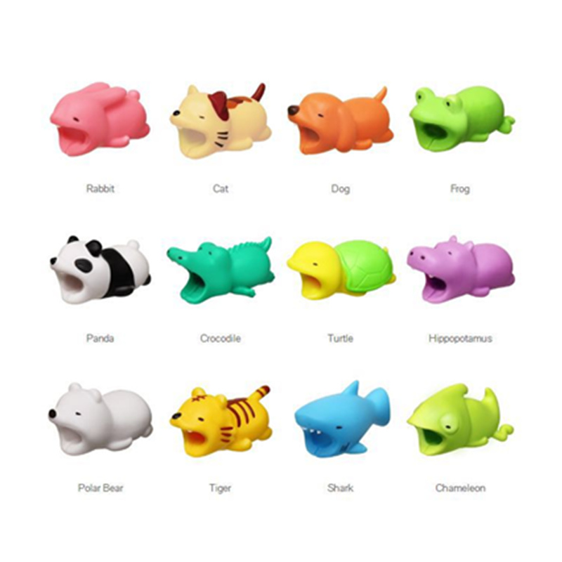 US $0 8 43% OFF|Dropshipping 36 styles 1 Pcs IPhone Cable Protects Bite  Accessory Animals Chompers Elephant lion tiger dog pig whale koala-in Gags  &