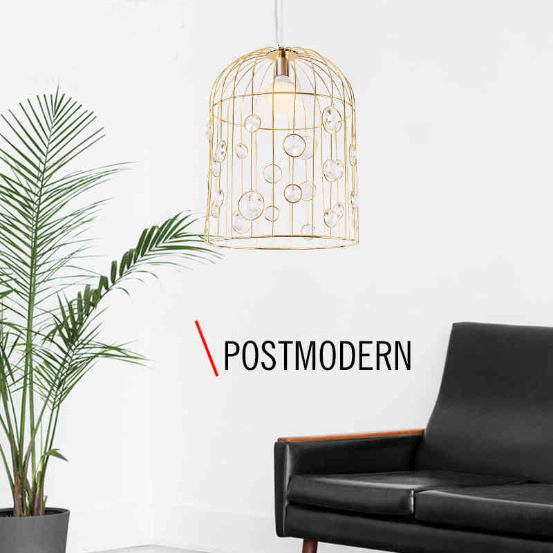 Postmodern northern American restoring  wrought iron birdcage chandelier crystal Creative personality restaurant bar lamps