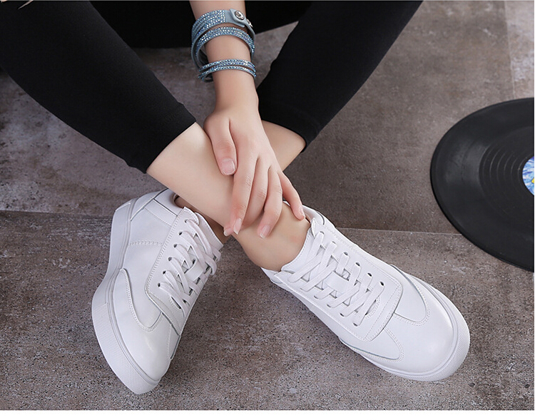 women shoes Genuine leather Lace-Up flats white shoe Soft bottom loafers Casual Shoes size 35-40 10