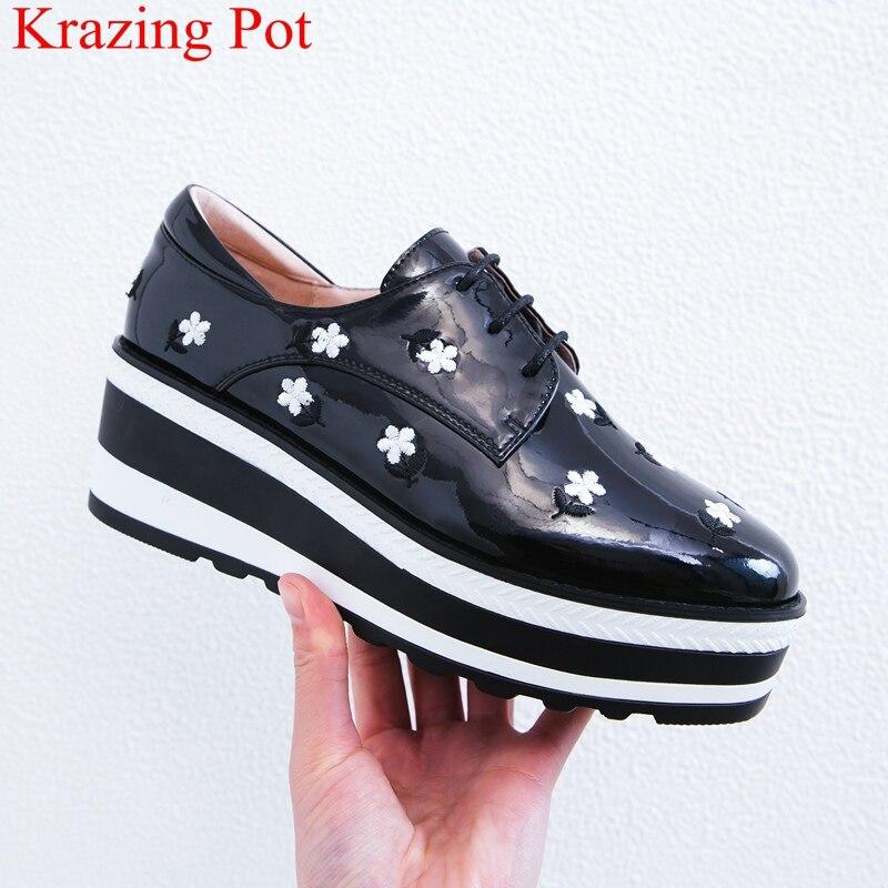 Bordar Zapatillas Dedo Deporte Tacones Del 2019 Olla Negro Patente Cuero Casuales Krazing Plataforma Mayor De Pie Cuñas L92 Redondo Womn Zapatos v8OqwyS6