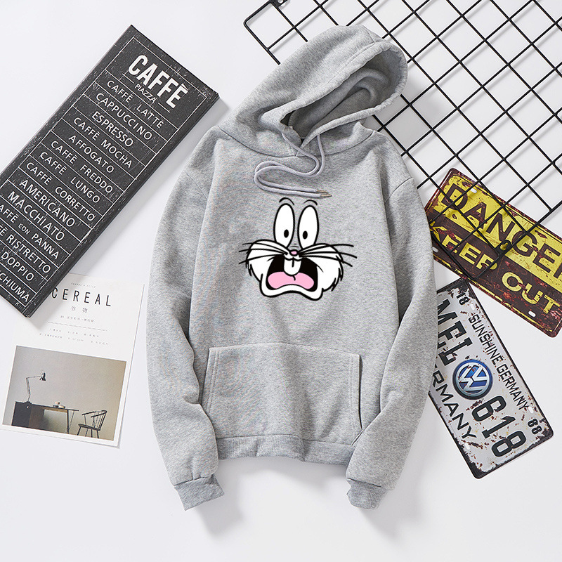 2019 Autumn Women Loose Sweatshirt Hooded Pullover Rabbit Print Femme Korean Style Casual Long-sleeved Thick Sweatshirt