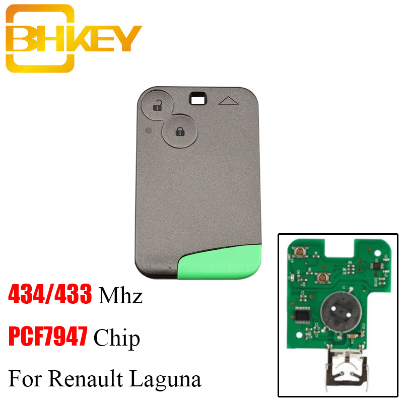 BHKEY 10pcs lot 2Buttons Smart Remote Key Fob For Renault Laguna PCF7947 Chip For Renault Laguna