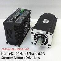 Nema 42 20N.m Stepper Motor+Drive Kits 3Phase 6.9A 110mm NEMA42 Hybrid Stepper Motor Kit for CNC Router 3M2280 10A+110BYGH350D