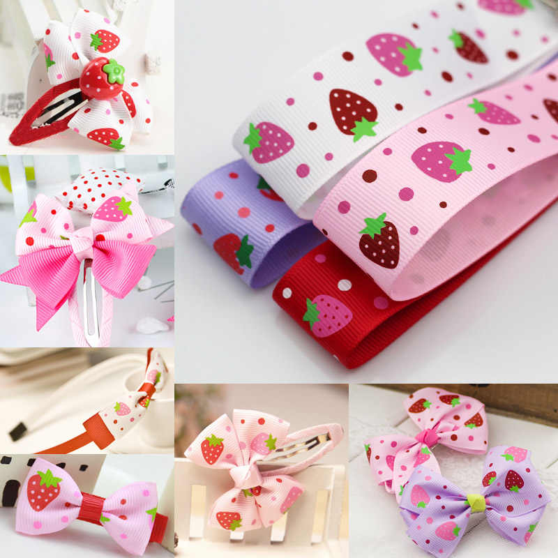 (1 Yard/lot) 1''25mm Printed Strawberry Grosgrain Satin Ribbon Wedding Party Decoration DIY Handmade Hair Bows Accessories Craft