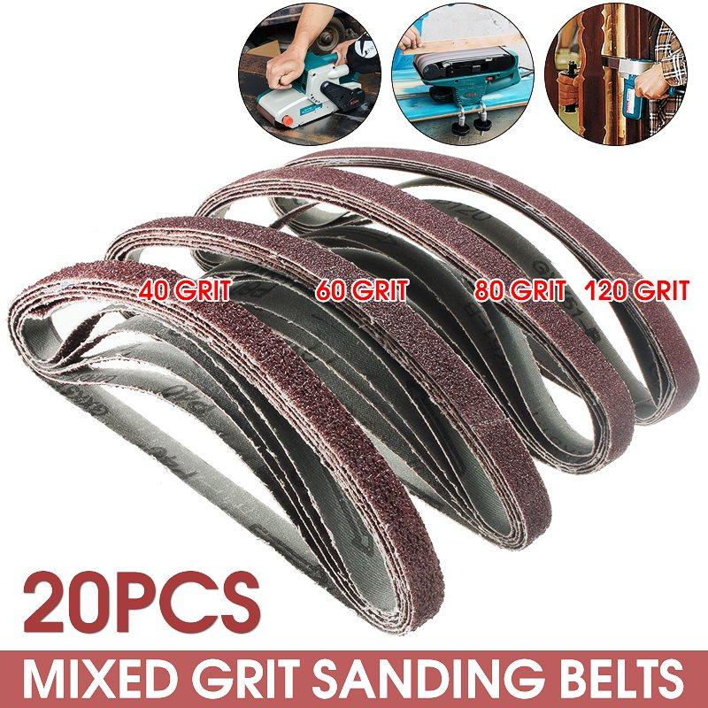 20pcs/Pack Powerfile Sanding Sander Belts Paper Mixed Grit 60 80 120 240 for Air Belt Sander 13mm x 457mm 150 piece sanding sheets triangle sander grinder paper pads 80 100 120 grit