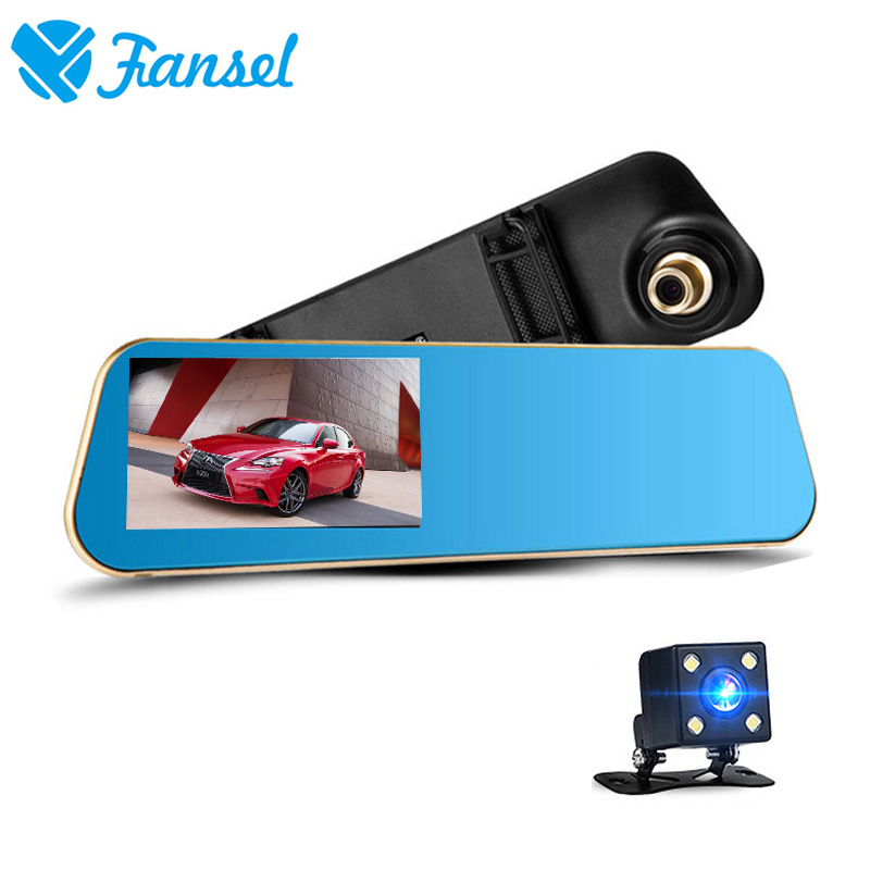 Fansel 4.3 inch dual lens dash cam car camera rearview mirror auto dvrs recorder video registrator full hd 1080p nigh vision