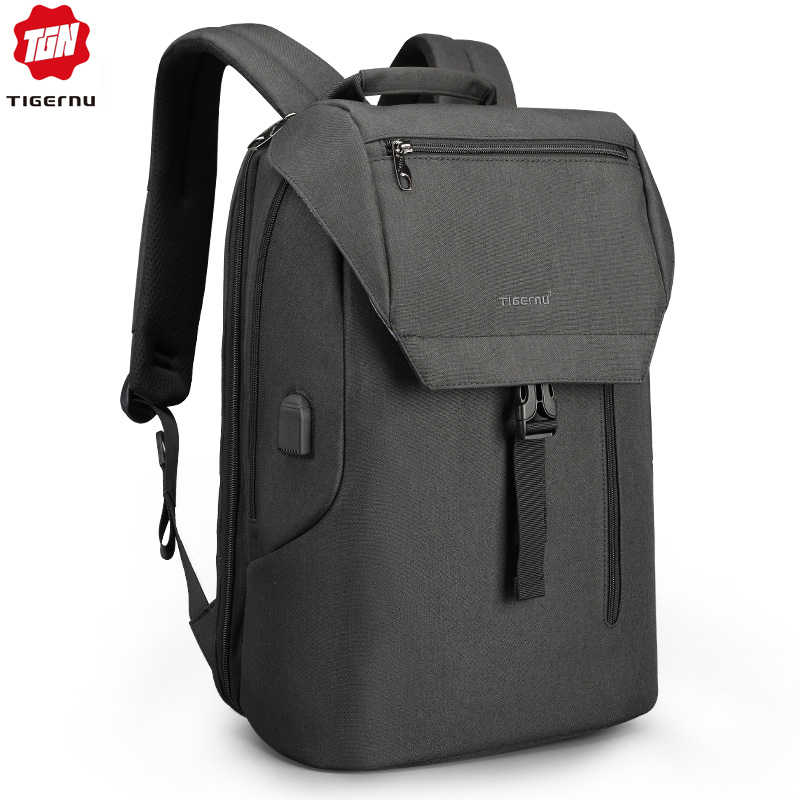 Tigernu Новое поступление мужской рюкзак с клапаном 15,6 дюймов Противоугонный ноутбук мужские рюкзаки зарядка через USB классный школьный рюкзак для мальчиков