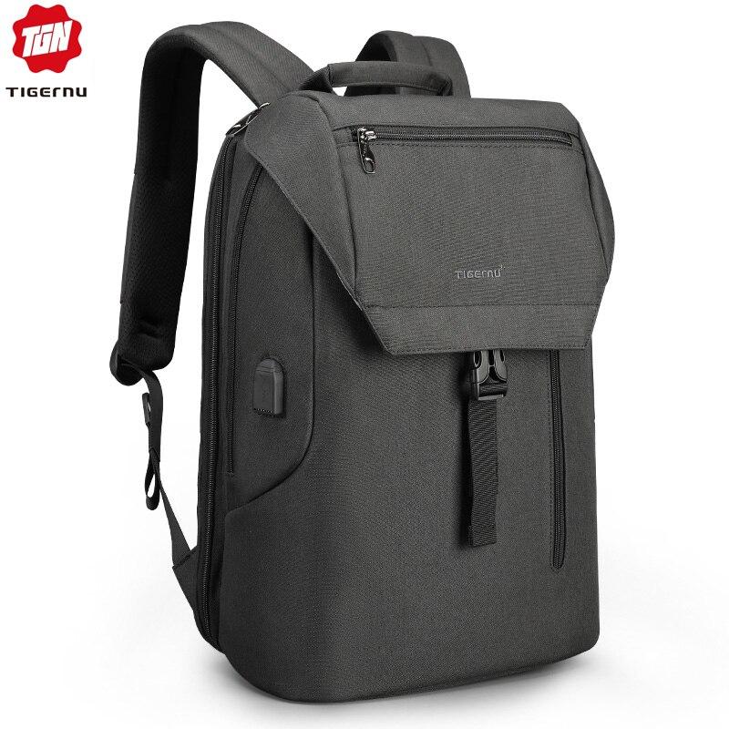 Tigernu nouveauté Mochila mâle avec rabat 15.6 pouces Anti-vol ordinateur portable hommes sacs à dos USB charge Cool école sac à dos pour les garçons