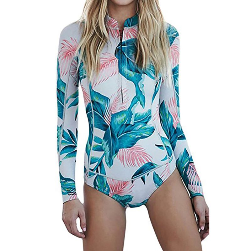 Summer Print Floral One Piece Swimsuit Long Sleeve Swimwear Women Bathing Suit Retro Vintage One-piece Surfing Swim Suits дмитрий брусилов энциклопедия будущего командира
