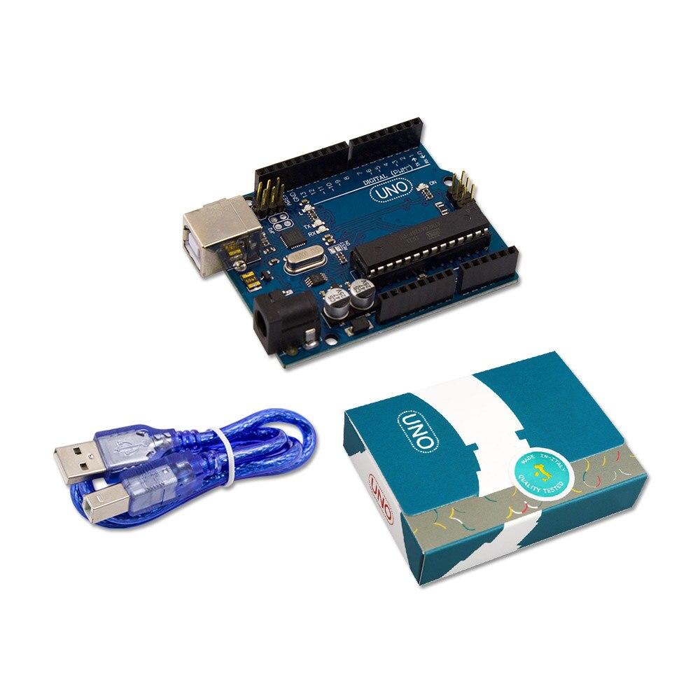UNO R3 para arduino MEGA328P 100% original ATMEGA16U2 con Cable USB + UNO R3 oficial caja