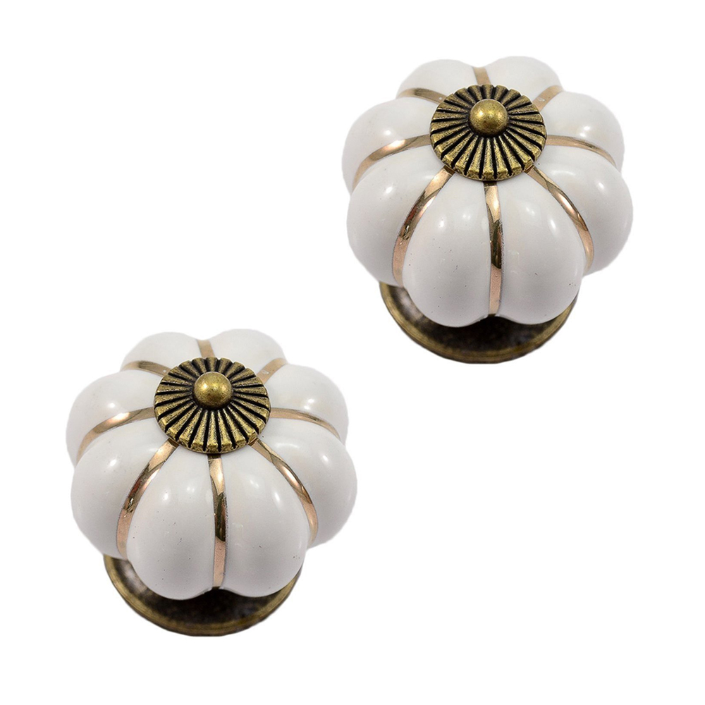 JFBL Hot 12Pcs Pumpkin Zinc Ceramic Door Knobs Drawer Pull Handle Kitchen Cabinet Cupboard Wardrobe White vintage ceramic door knobs cabinet drawer wardrobe cupboard kitchen pull handle wonderful