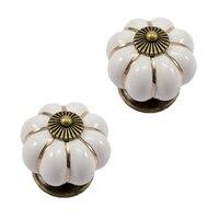 JFBL Hot 12Pcs Pumpkin Zinc Ceramic Door Knobs Drawer Pull Handle Kitchen Cabinet Cupboard Wardrobe White