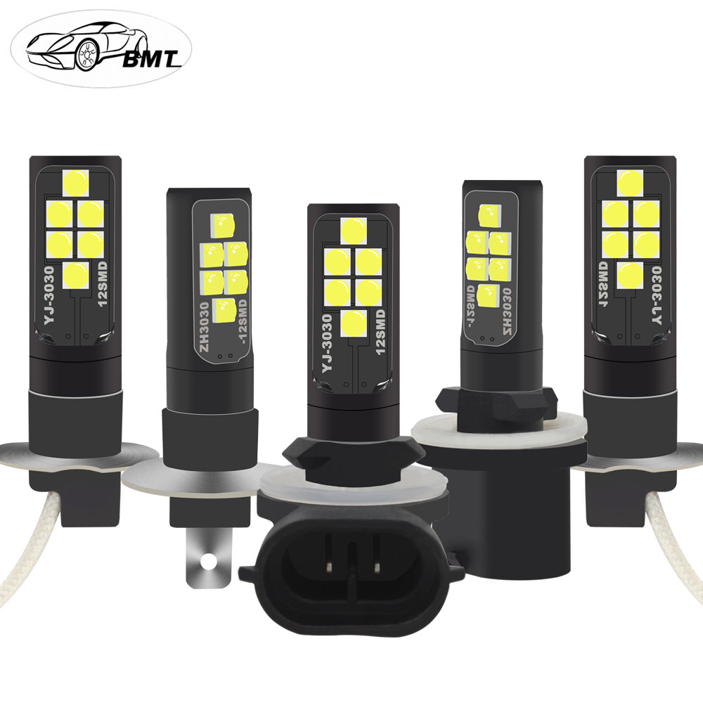 BMT H1 H3 LED H27w2 H27w/2 LED Bulb H27w 880 881 H27w1 H27w/1 Car Led Fog Lights Lamp Cars Daytime Running Lights DRL12V LED