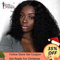 13x6 Lace Front Wigs For Women Curly Human Hair Wigs 250% Density Brazilian Glueless Lace Front Wig Full Black Remy Ever Beauty