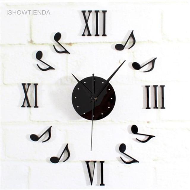 ISHOWTIENDA 1 PC Musik Notasi Kombinasi Dekorasi DIY 3D Jam Dinding besar  reloj de dikupas kualitas 275fcf52f4