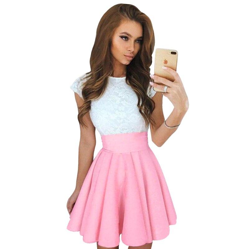 Dresses 2018 Party V Neck Women Suspender Crochet Mesh Dress Waist Skater Dress Swing Mini Dresses Black Pink Sundress Vestidos