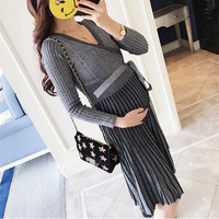 Warm Pregnancy Maternity Knitting Long Dresses Long Sleeve Clothing Fashion Pregnant Women Pleated Dresses