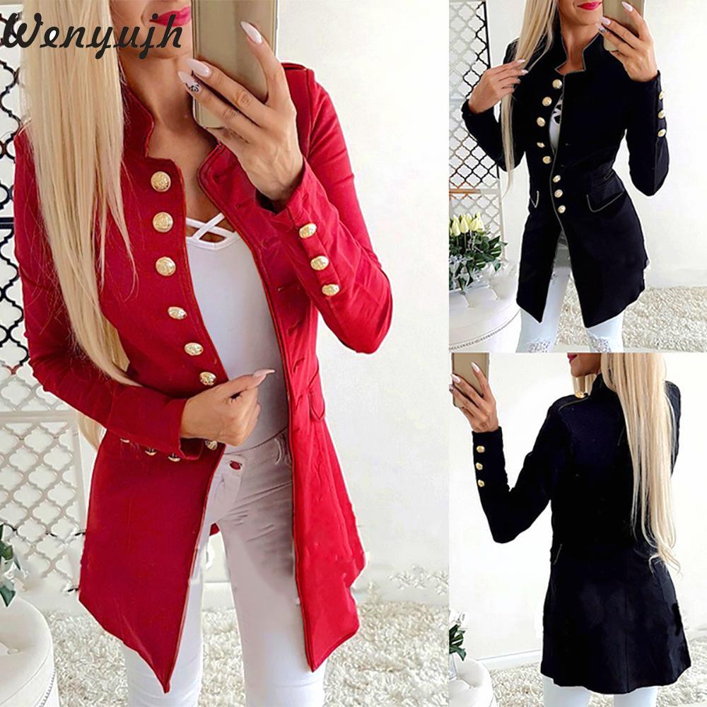 Wenyujh 2019 Fashion Women Blazers Simple Office Lady Lapel Long Sleeve Button Slim Fit Small Suit Jacket Coat Blazer Outwear