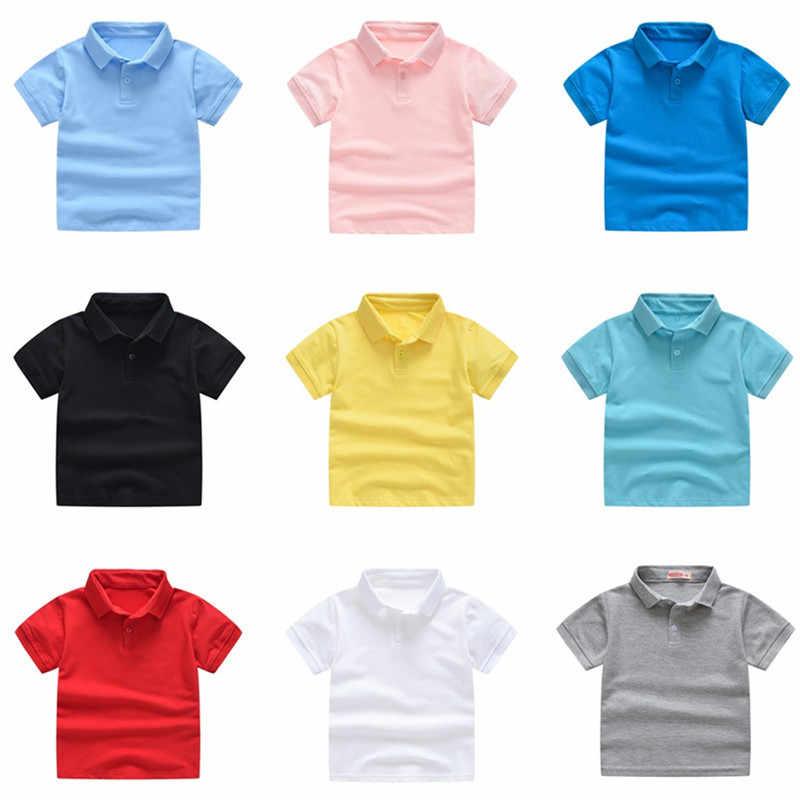 2019 ใหม่เด็กฤดูร้อนผ้าฝ้ายแขนสั้นเสื้อเด็กชายหญิงสีทึบเสื้อโปโล 2-7Y เด็กยี่ห้อ POLO เสื้อผ้าออก