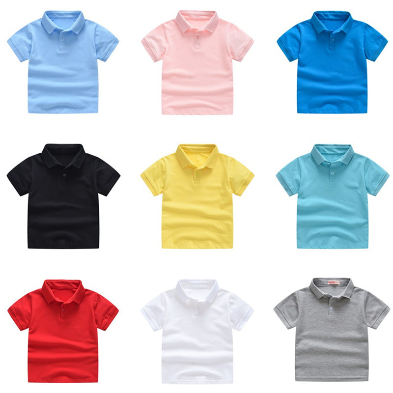 2020 New Children's Summer Cotton Short Sleeved Shirt Baby Boys Girls Solid Color Polo Shirt 2-7Y Kids Brand Polo Clothes Out