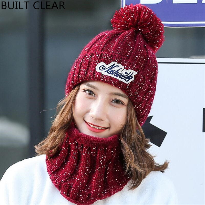 (BUILT CLEAR) Skullies2017 new outdoor women riding a velvet knit hat Ms. leisure wild autumn and winter warm wool hat wholesale skullies