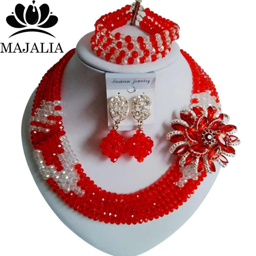 Trendy Nigeria Hochzeit rote afrikanische perlen schmuck-set kristall halskette armband ohrringe Freies verschiffen Majalia-068