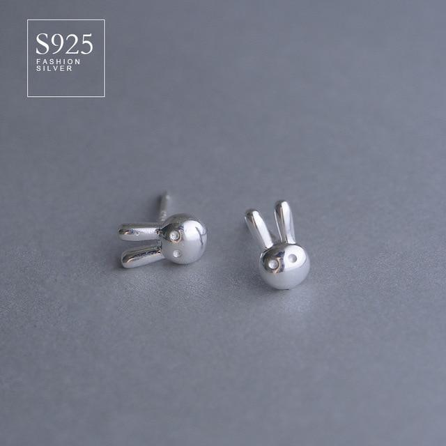 925 Sterling Silver Cute Rabbit Skull Modeling Small Earrings Anti Allergic For Women