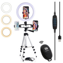 Selfie Video LED Ring Light Portable Photography Dimmable Lamp with Tripod Phone Holder for iPhone 11 12 Pro Max XS Galaxy Plus