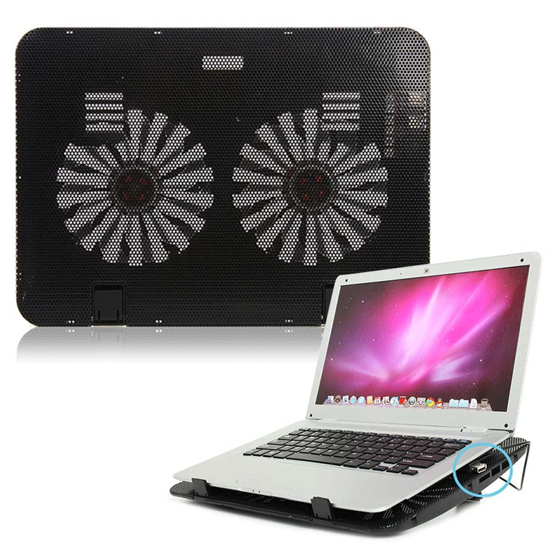 New Portable Hot Laptop Cooling Cooler Pad Stand USB Powered Two Fans for 15.6 inch Notebook QJY99
