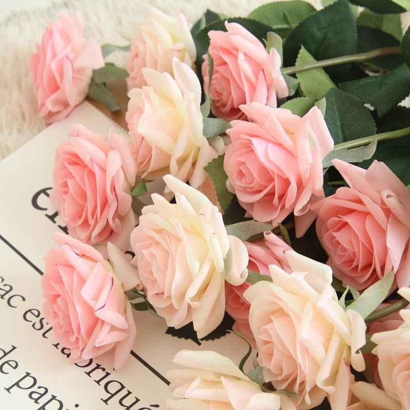 11 Pcs Sentuhan Nyata Mawar Bunga Buatan untuk Dekorasi Pesta Pernikahan Rumah Bunga Palsu Cabang Hadiah Tahun Baru Natal
