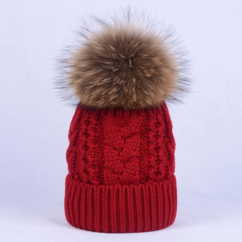 723b96cc7cd Furlove Women Beanies Raccoon Fur Pom Poms Touca Inverno Knitted ...