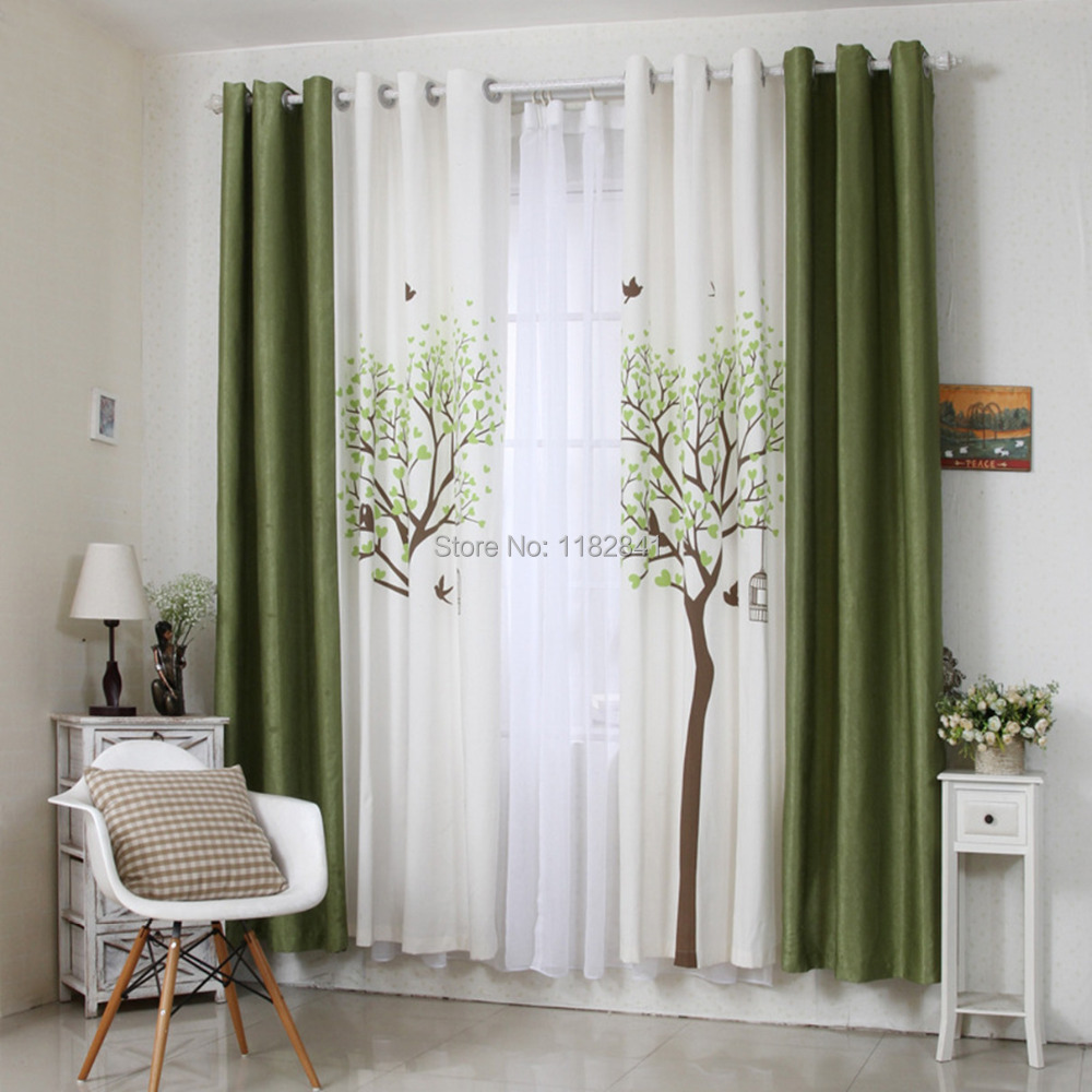 Art of wood 2015 korean new design printed curtains cafe - Latest curtain design for living room ...