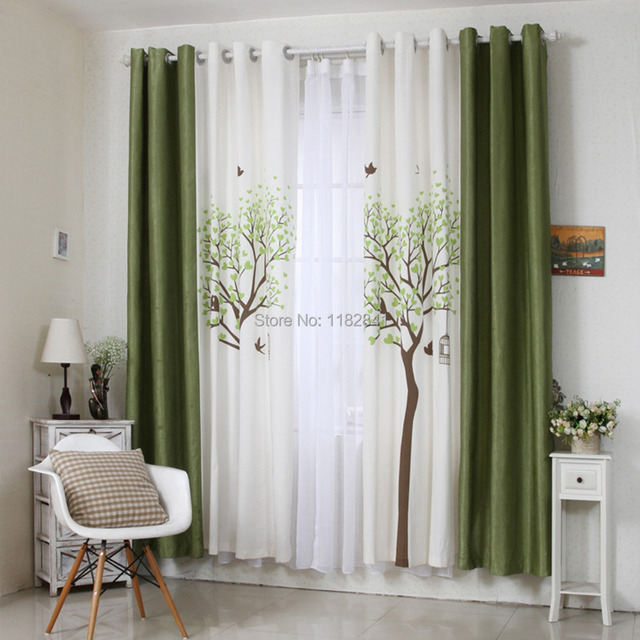 Art Of Wood 2015 Korean New Design Printed Curtains Cafe Living Room Shading Finished For