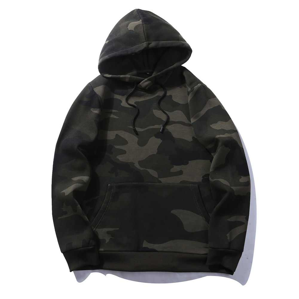 Camouflage Pullovers Casual Unisex Thick Fleece Hoodie Camo Hoodies Men Army Green 2019 Pocket Military Hooded Sweatshirt Mens