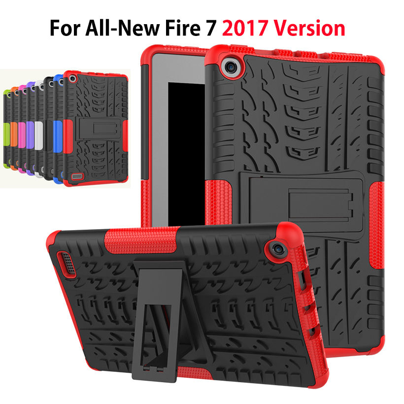 2017 Case For Amazon All-New Fire 7 Tablet with Alexa 7 Armor KickStand Shockproof Heavy Duty Silicone PC Tablet Stand Case for amazon kindle fire hd 8 2017 pirate tablet case cover shockproof heavy duty silicone pc stand case w wrist shoulder strap