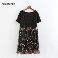 Floral Embroidery Mesh Dress Plus Size 5 XL Women A line Short Sleeve Casual Summer Dress Vestidos Black KKFY2134