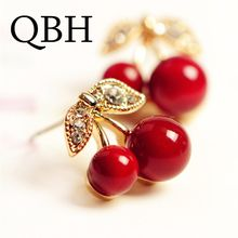 EK623 2018 New Fashion Cute Lovely Red Cherry Earrings Rhinestone Leaf Bead Stud Earrings For Woman Jewelry Boucle D'oreille(China)