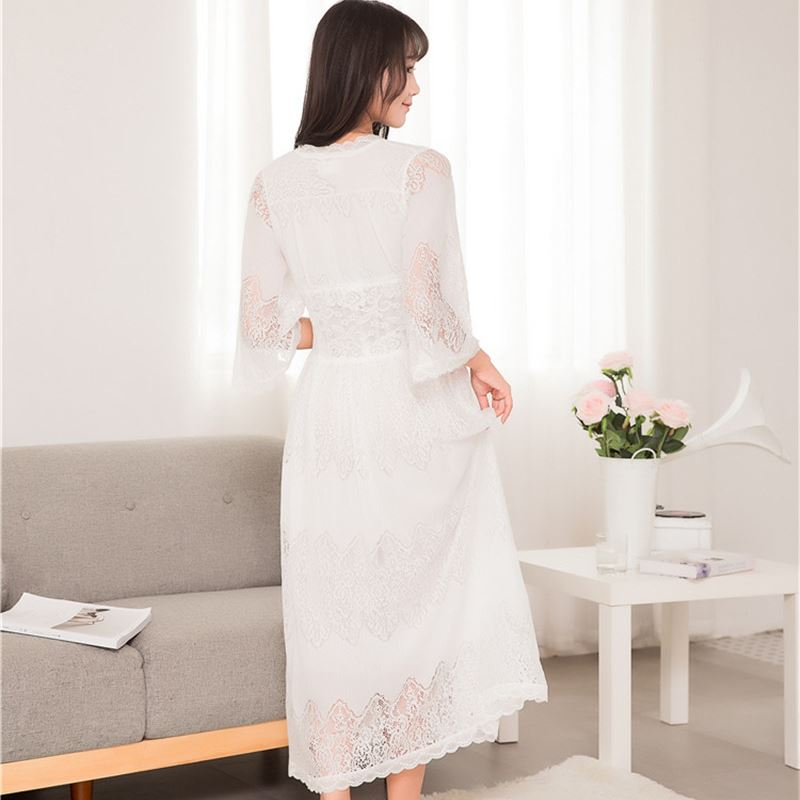 Plus Size Sleepwear Front Open Deep V Neck Sexy Lace Home Wear Night Dress Vintage Nightgown Long Sleep Shirt Nightdress T179