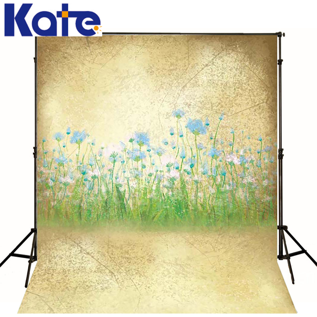 KATE Photo Background Dream Field Photography Backdrops Newborn Grass Blue Flowers Backdrop Scenery Backdrops for Photo Studio kate photo background scenery