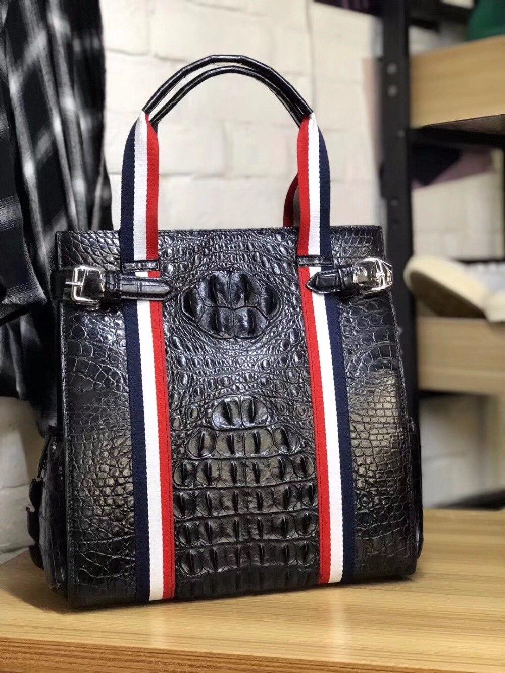 Fashion Luxury Striped Designer Genuine Crocodile Leather Man Men Top-handle Bag Exotic Alligator Skin Male Flap Pocket Handbag striped front pocket tank top