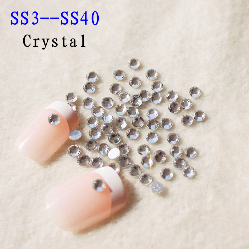 Lowest Price SS3-SS40 Glass Crystal Clear Non Hotfix FlatBack Nail Rhinestones Nail Art Decorations Glitter trim Strass Stones ss2 ss50 and mixed crystal rhinestones nail art stones 2016 new strass glass non hotfix flatback for 3d nails art backpack diy