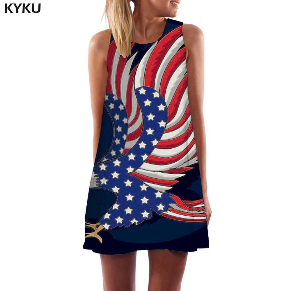 KYKU/Брендовое платье с орлом, женское платье с американским флагом, Vestido, сексуальное платье с животными, корейский стиль, США, сарафан, Harajuku, женские платья, женская одежда
