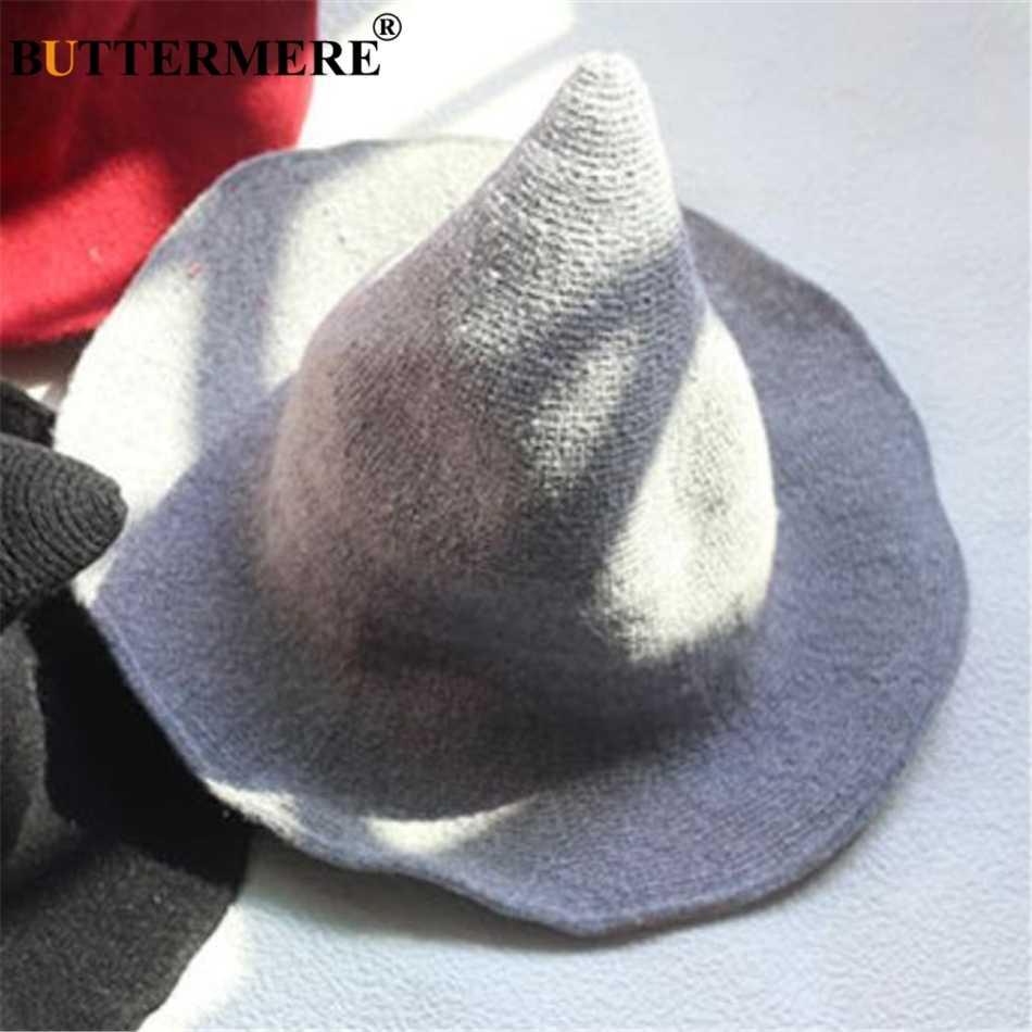 38c8aa44ca677 ... BUTTERMERE Adult Wizard Hat Wool Women Bucket Hat Knitting Witch Hat  Ladies Wide Brim Solid Autumn