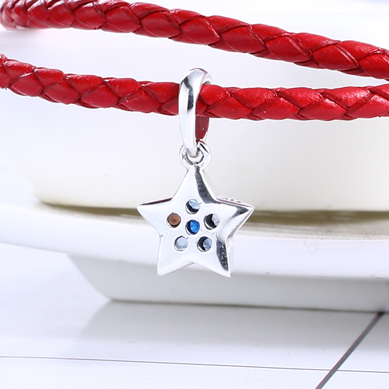 2017 Christmas 100% 925 Sterling Silver Bright Star Dangle Charm Fit Original Pandora Charms Bead Bracelet for Jewelry Making