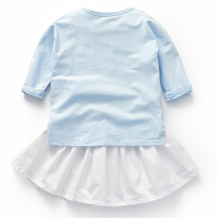 Baby Girl Clothes Long Sleeve T shirt skirt 2 Piece Set Girl Casual Sweatshirt Top With White Skirt Set 2018 in Clothing Sets from Mother Kids